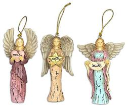 Faith Hope Love Angel Ornaments - Set of 3 - Christmas Ornam
