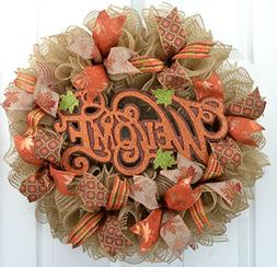 Hello Fall Welcome Autumn Thanksgiving Front Door Outdoor Me