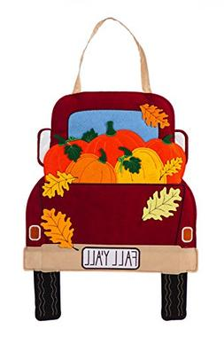 Evergreen Fall Y'all Pickup Truck Felt Door Décor