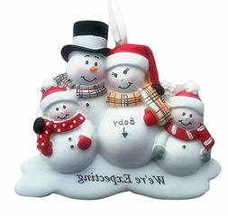 Family of 4 We're Expecting Snowmen Personalized Christmas O