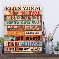 Family Rules Wooden Look 11 x 14 Wall Art Sign Plaque