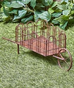 Farmhouse Rustic Metal Wheelbarrow Yard Art Lawn Garden Outd