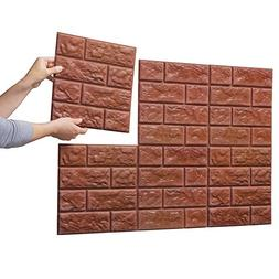 Collections Etc Faux Brick Wall Tile Decals - Set Of 6, Brow