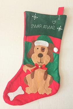 Felt Pet Christmas Stocking, 16 Dog - I Love Santa Paws