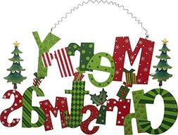 Festive Merry Christmas Wooden Holiday Wall Hanging Sign