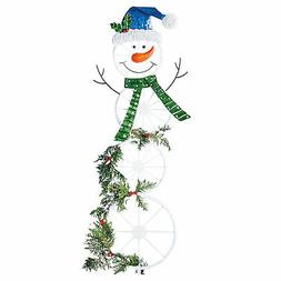 Festive Snowman Wagon Wheel Trellis Winter Yard Stake