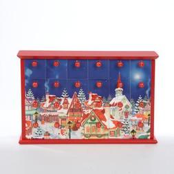 "12.5"" Festive Winter Village Scene Wooden Christmas Advent C"