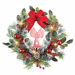 Fiber Optic Lighted Color Changing Holiday Angel Wreath