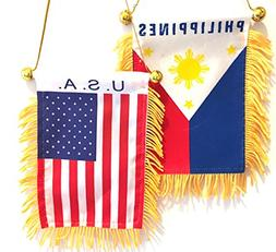 Filipino American pride 2pc Philippines flag and American US