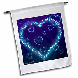 3dRose fl_127711_1 Blue Hearts Valentine Garden Flag, 12 by