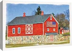 "Flag Barn by Redneck Riviera - 8"" x 12"" Gallery Wrapped Gicl"
