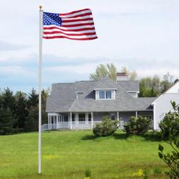 3'x5' US Flag Kit with 20-Foot Flag Pole Aluminum In-Ground