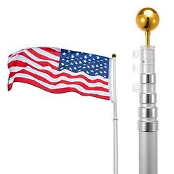 Voilamart 20ft Flagpole Telescopic 5 Sectional Fly 2 Flags,
