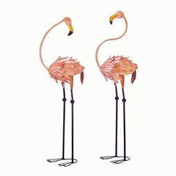 Flamboyant Flamingo Tropical Iron Home Garden Stakes