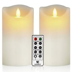"Flameless Candles Battery Operated Candles 3.25""x6"" Set of 2"