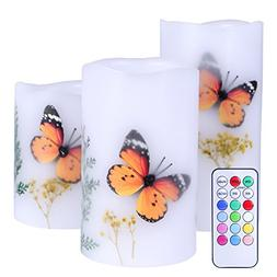 Set of 3 Flameless LED Candles Color Changing Flicker,Light