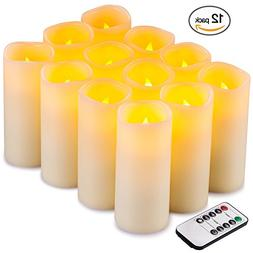 Flameless Candles Flickering LED Candles Set of 12  Ivory Re