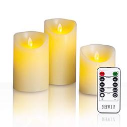 """YIWER Flameless Candles, 4"""" 5"""" 6"""" Set of 3 Real Wax Not Plas"""