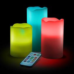 Flameless Candles, Multi Color Option Battery Operated Set o