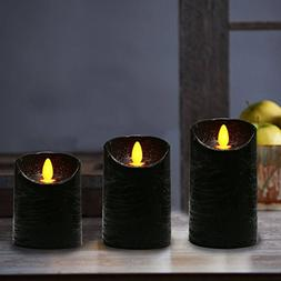 COOSA Flameless Candles with Black Decorative Pattern LED Ca