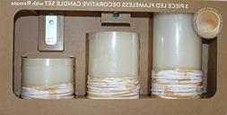 3-Piece LED Flameless Decorative Pillar Candle Set with Remo