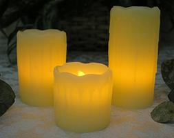 Flameless Flickering LED Candles - Set of 3 assorted sizes -
