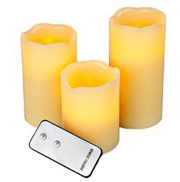 Set of 3 Flameless Ivory Pillar Candles With Remote