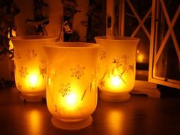 Flameless Votive LED Candles with Remote: Set of 3 Glass Jar
