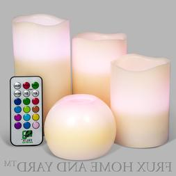 3 Piece Flameless LED Wax Pillar Candles Set with Remote and