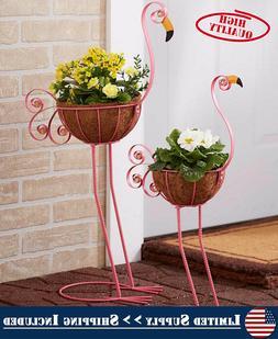 Flamingo Yard Decorations Metal Pot Planter Outdoor Garden L