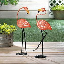 FLAMINGOS: Cheery Small Pink Flamingo Iron Statue Garden Yar