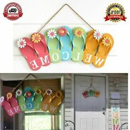 Flip-Flop Welcome Sign Wall Vibrant Colors For Garden Decor