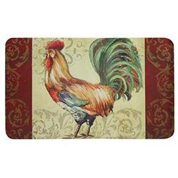 Floor Gallery Rooster Scroll Rug, Stain Resistant, Skid Resi