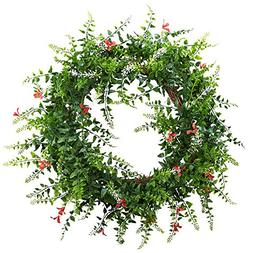 Nearly Natural Floral & Fern Double Ring Wreath with Twig Ba