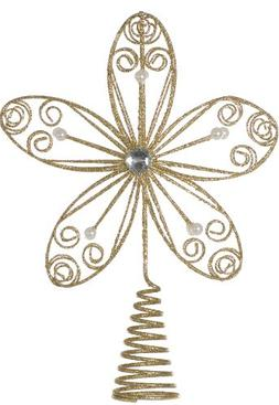 Festive Productions Flower Christmas Tree Topper with Pearls