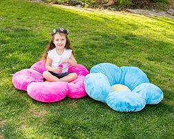 Heart to Heart Girls Flower Floor Pillow Seating Cushion, fo