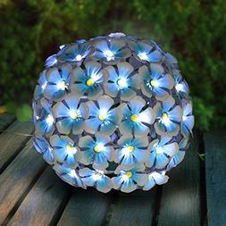 Exhart Flower Lights Tabletop Decor – Blue Hydrangea Flowe