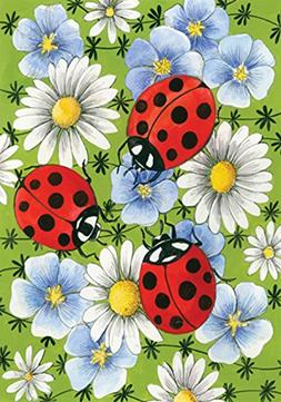Toland Home Garden Flowers and Ladybugs 12.5 x 18 Inch Decor