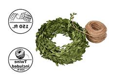 Fake Foliage 150 ft / 50 Yards of Green Artificial Ivy Vines