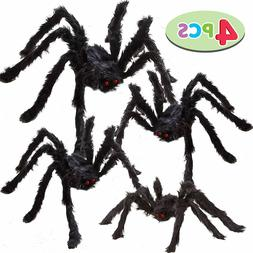 Four Halloween Realistic Hairy Spiders Set Outdoor Yard Deco