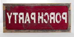 Framed Porch Party Metal Sign, Rustic Decor, Home Accent
