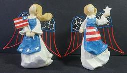 Freedom & Liberty Patriotic 4th of July USA Angel Figurines