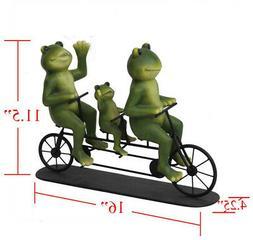 Frog Bicycle Garden Statue 11.5 Inch Durable Steel Resin Bik