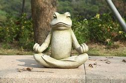 FROG SITTING LOTUS  NEW HOME YARD OR GARDEN DECOR STATUE FRE