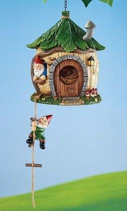 Funny Gnome Home Hanging Bird House Garden Statue Outdoor La