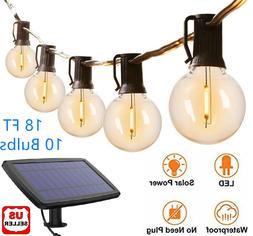 G40 Solar Powered 18ft Outdoor Patio Globe String Lights Bis