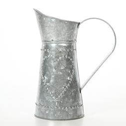 """Hosley 9.25"""" High Galvanized Decorative Pitcher. Ideal for H"""
