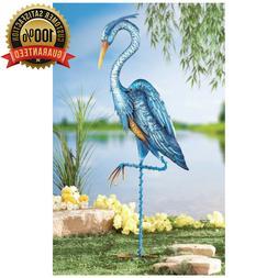 Garden Decor Blue Metal Heron Crane Iron Hand Painted Outdoo