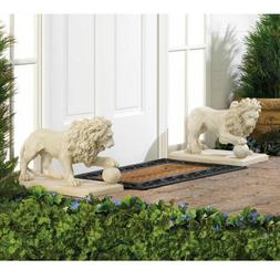 GARDEN DECOR Pair of Regal Lion Statues at Play with Ball Ya
