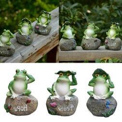 Garden Decor Statue Frogs Set of 3 Outdoor Patio Ornaments Y
